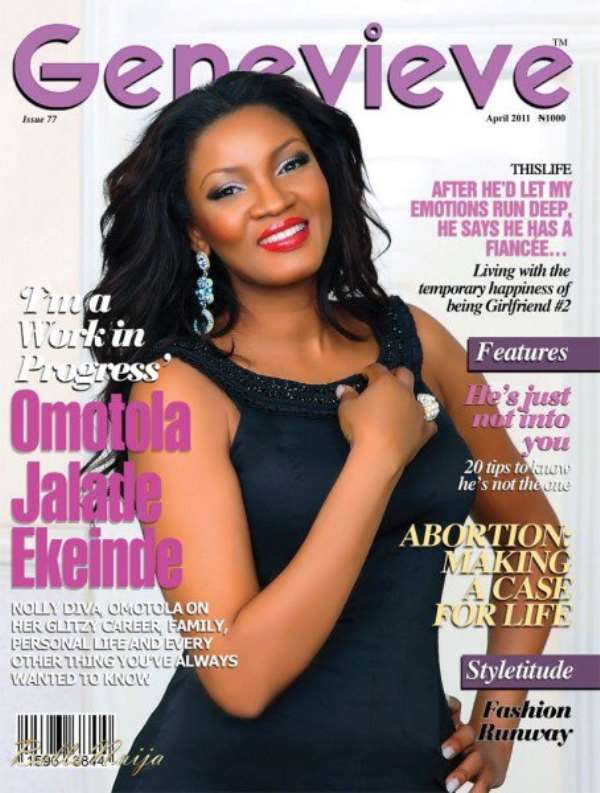 Omotola on the Cover of April Edition of Genevieve Magazine