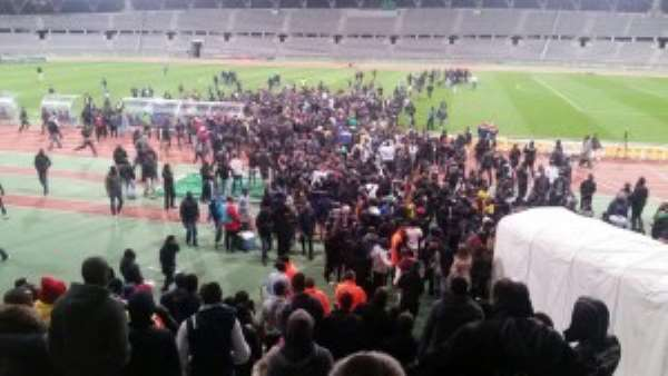 Pitch invaders were on the pitch in numbers as Ghana held Mali in a friendly