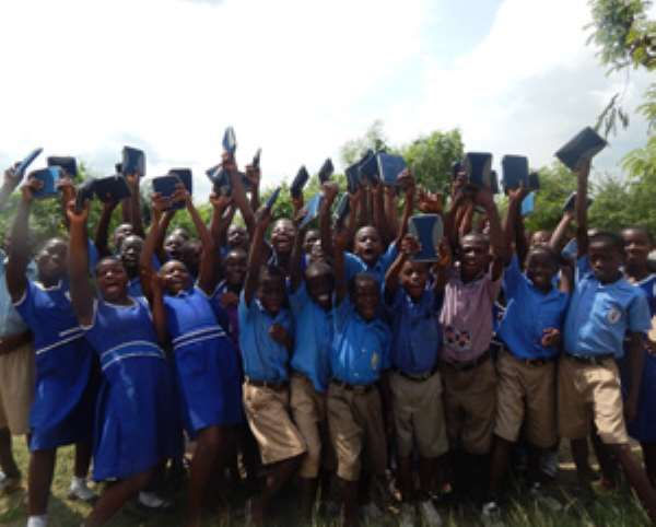 Jubilant kids during the launch