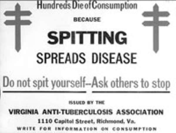 The act of spitting indiscriminately