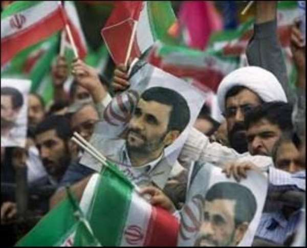 Supporters of Iranian President Mahmoud Ahmadinejad