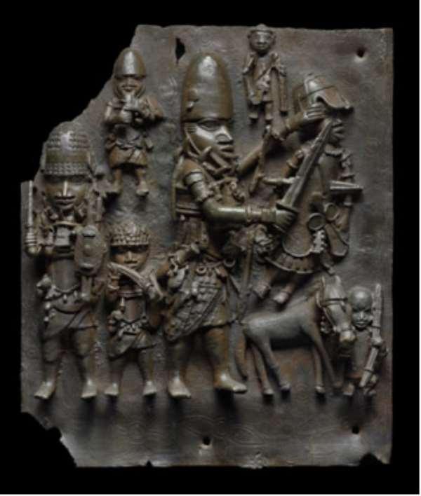 Relief plaque depicting a battle scene. Benin, Nigeria, now in Museum of Fine Arts, Boston, United States of America.
