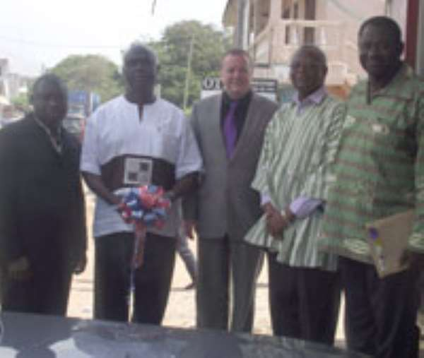 From right ,George Jerry Hanson Prez , CODE, Minister of Education, Alex Tettey Enyo (in smock ) Denis Anderson (extreme left) scheme manager at the commissioning of offices for the scheme