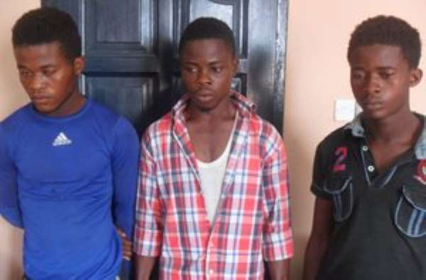 The suspected armed robbers in police custody
