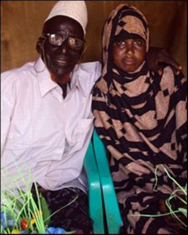 Ahmed Muhamed Dore, who says he is 112, married Safia Abdulleh, aged 17, in Somalia last month