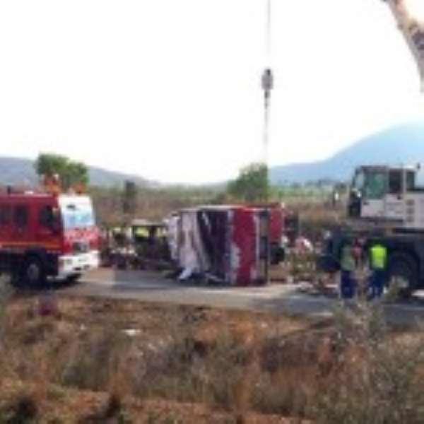 Scene of the crash Spain student bus crash 'kills 14′