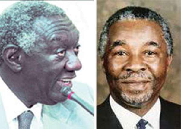 Ex-president John Agyekum Kufuor (left), Ex-president Thabo Mbeki (right)