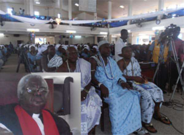 Some worshippers during the thanksgiving service. Inset: Rt. Rev. Martey at the Madina Presby
