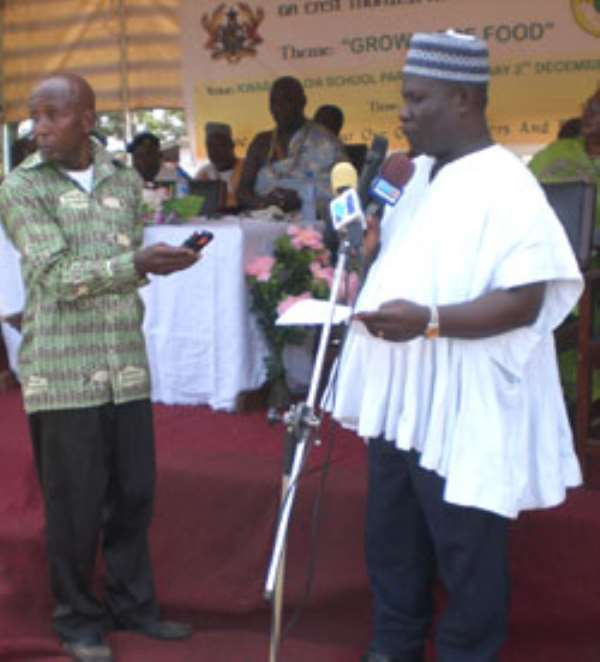 Pix: Mr. Sackey deliverying his address during the Farmers Day celebration