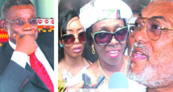 President Atta Mills (LEFT), Nana Konadu addressing the media after picking her nomination forms (MIDDLE), Jerry Rawlings (RIGHT)