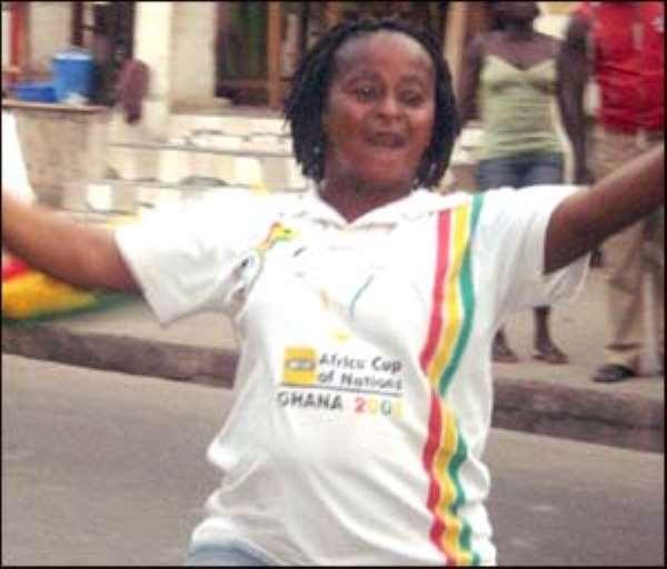 A soccer fan celebrating Black Stars victory yesterday