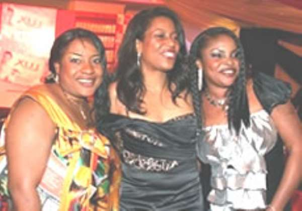 From left, renowned actress, Lola Alao, Helen Ajayi, former Miss Nigeria and Foluke Daramola at the Nite of Temptation for the unveiling of the new Lux variants in Lagos