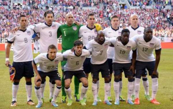 The US national team poses for a photo before their Brazil 2014 FIFA World Cup qualifier against Panama at Century Link Field stadium in Seattle, Washington, on June 11, 2013.