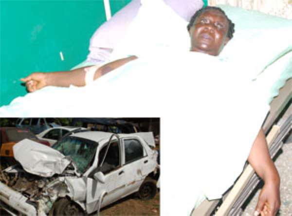 Susana Mensah on her hospital bed. Inset: The accident car