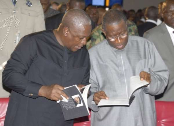 PHOTONEWS: President Goodluck Jonathan And Ghanaian President, John Mahama At Achebe's Burial