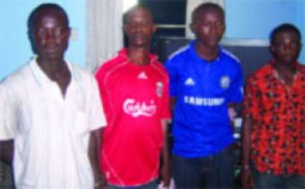 The convicts (from left), Ebow Kwabena, Kofi Yeboah, Osei Prempeh and Yaw Asamoah, after their arrest.