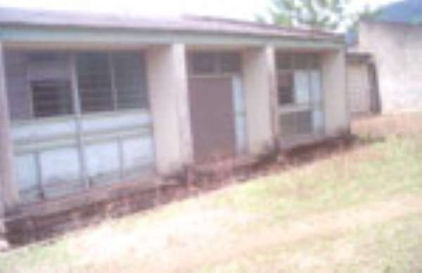 The front view of the dilapidated clinic at Kpedze-Awlime