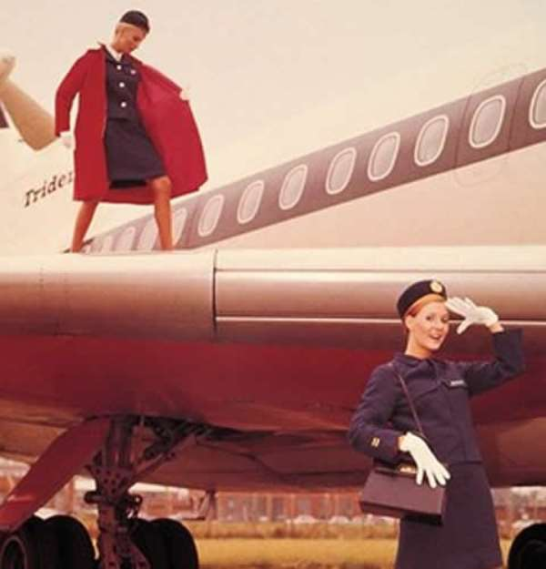 Wing wear Slightly more classic tailoring from British European Airways staff in the 1960s. Clearly decorum went downhill from here.