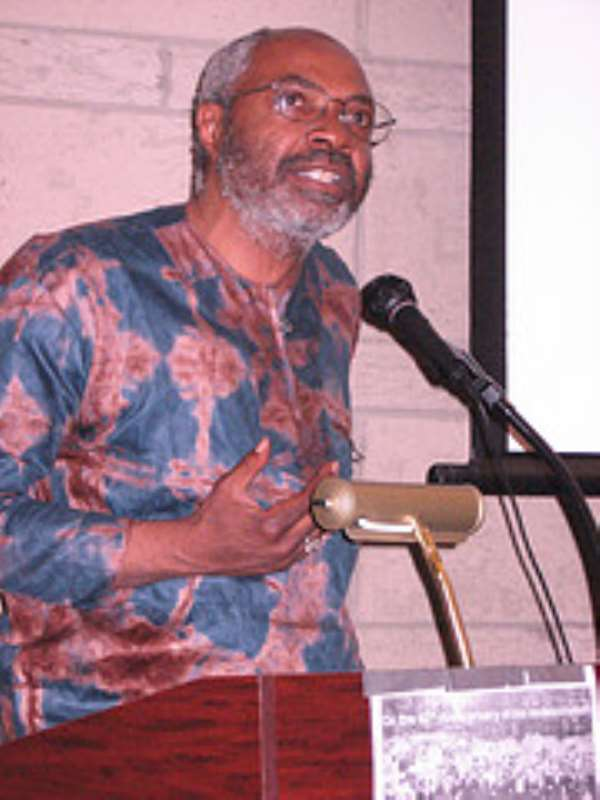 Abayomi Azikiwe, editor of the Pan-African News Wire, at the MLK Conference held on Sat., April 5, 2008 in Detroit. (Photo: Cheryl LaBash).