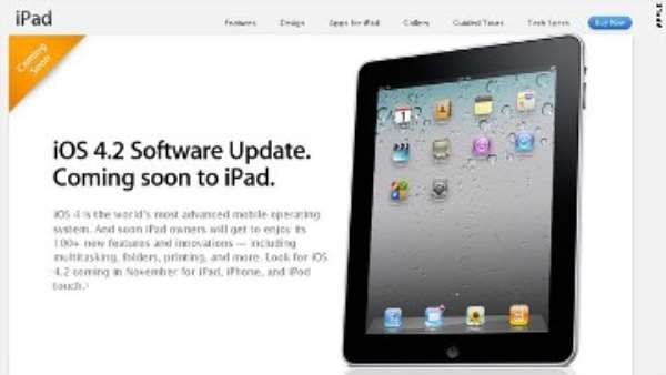 A page on Apple's website promises a software update will bring more than 100 new features to the iPad