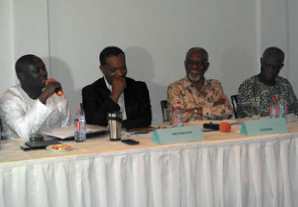 Energy Minister, Kofi Buah (with mic) addressing the VRA stakeholders forum. With him are Prof Akilakpa Sawyerr (2nd from right) and Kweku Awotwi (2nd from left)