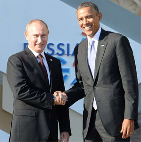 President Vladimir Putin and Presidents Barack Obama in a handshake