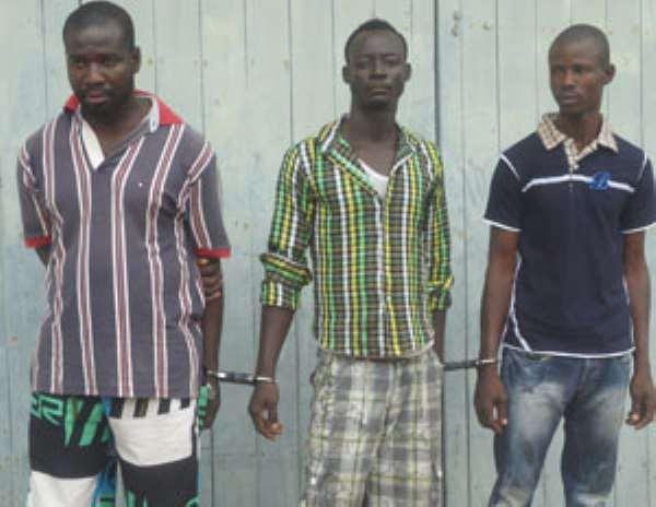 BUSTED! Samuel Kwame Addo (left), Kofi Seth Tawia (middle) and Ernest Amago Kudji
