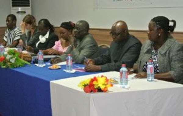 P.V Obeng and other dignitaries at the opening, including Akwesi Oppong-Fosu (2nd right) during the opening