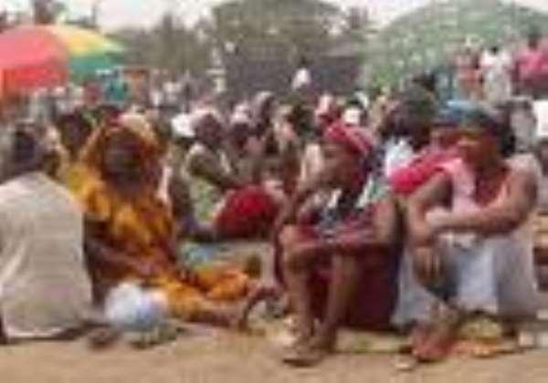 Liberian refugees protesting at the Buduburam camp.