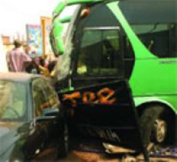 The Yutong bus and the BMW saloon car in the crash.