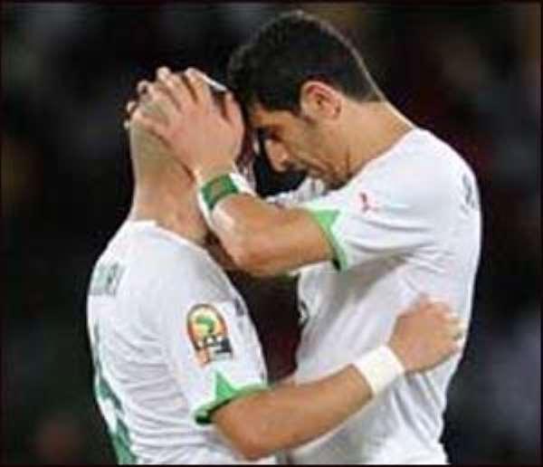 Algeria's Rafik Halliche (right) celebrates his goal against Mali