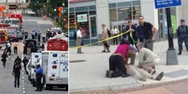 Wounded: Bystanders rush to help a stricken individual who was reportedly shot this morning by a lone gunman at the Washington Naval Yard in the nation's capital