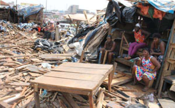 Some of the demolished structures