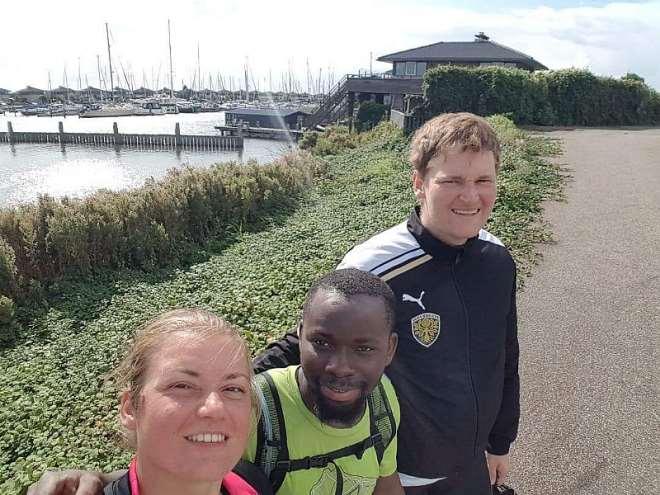 Kwame Oti with Sophia Jessen and Stefan Weichart