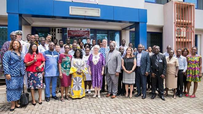 U.S. Ambassador to Ghana Stephanie S. Sullivan in a group photo with Government of Ghana and international partners after the launch of the new Joint Strategy for Achieving HIV/AIDS Epidemic Control for the Western Region in Sekondi on Tuesday, October 1, 2019.