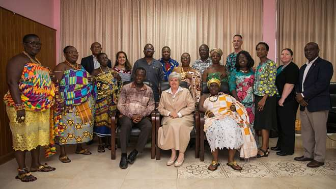 U.S. Ambassador to Ghana Stephanie S. Sullivan pictured with the Western Regional Minister Kwabena Okyere Darko-Mensah and Queen Mothers on Monday, September 30, 2019.