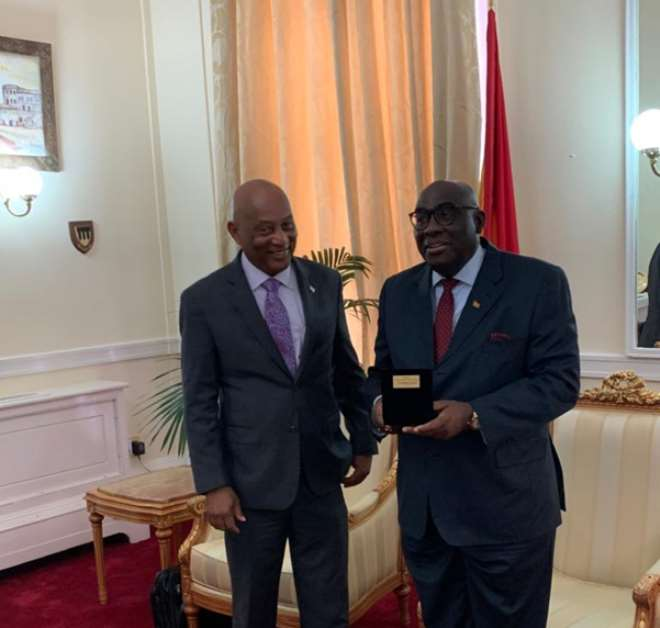 Honourable Vincent Presented A Gift To H.E Papa Owusu-Ankomah