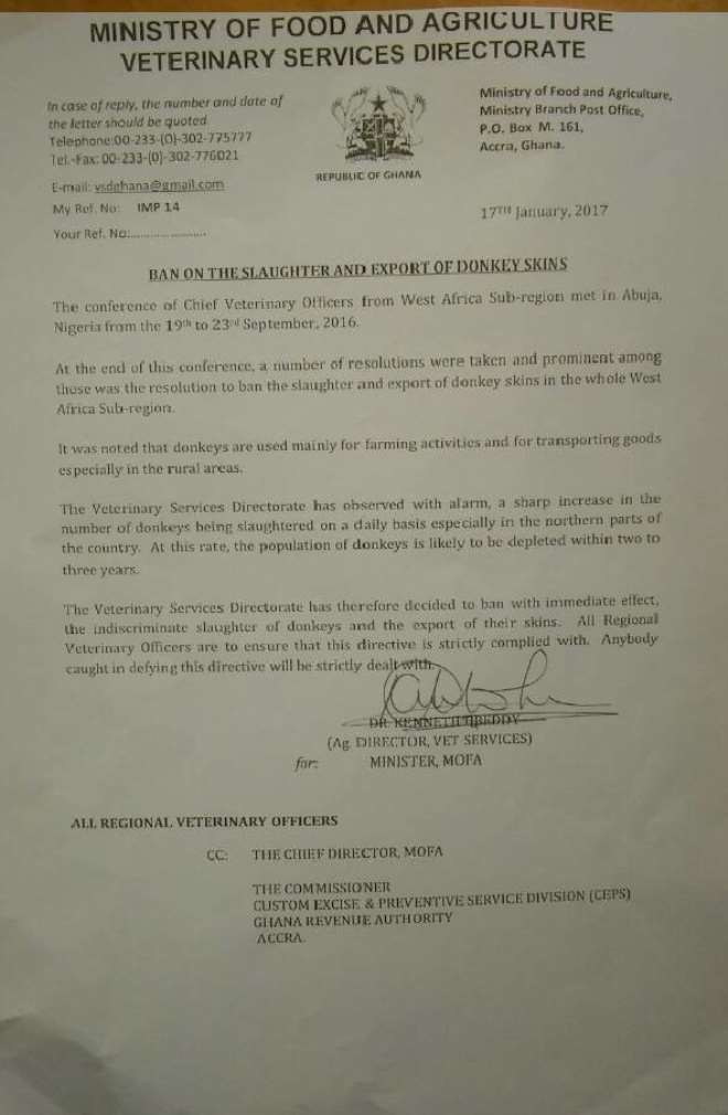 Letter From Ghana's Veterinary Services Directorate