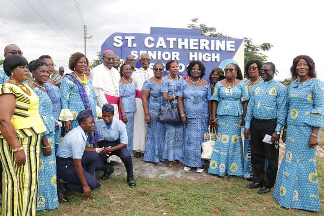 Bishop Anthony Adanuty Founder of St. Catherine Girls Senior High and Bishop Gabriel Kumordji of Keta-Akatsi with Dignitaries at the decade celebration at Agbakope on October 19, 2019. Extreme right is Madam Benedicta Tenni Seidu, the Director of Girls' Education Unit at the Ghana Education Service. Photo by Damian Avevor