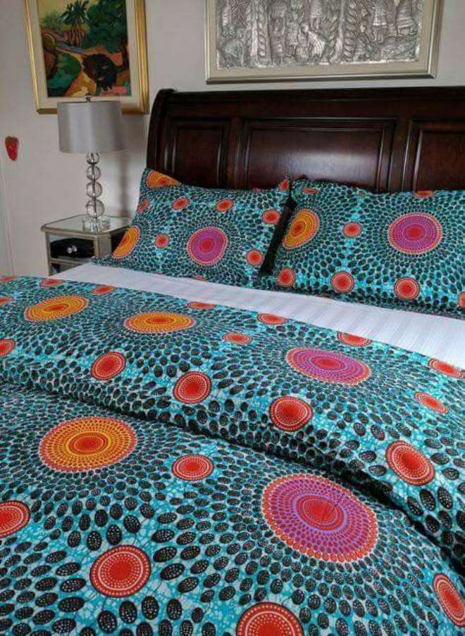 Blue designed bed covers