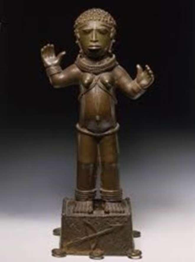 Female figure, Benin, Nigeria, now in Ethnologisches Museum/Humboldt Forum, Berlin, Germany.
