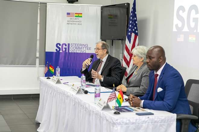 U.S. Government's Security Governance Initiative (SGI) Ghana Head of Delegation Ambassador Michael Arietti (far left) addressing the press with U.S. Ambassador to Ghana Stephanie S. Sullivan (middle) and SGI Ghana National Coordinator Osei Bonsu Dickson (far right) in advance of the 6th Security Governance Initiative Steering Committee Meeting on Wednesday, January 22, 2020.