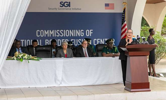 U.S. Department of State Assistant Secretary for the Bureau of International Narcotics and Law Enforcement Affairs Kirsten Madison speaking at the National Border Fusion Center commissioning on Wednesday, January 22, 2020.