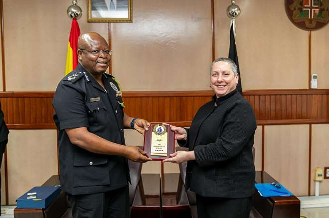 U.S. Department of State Assistant Secretary for the Bureau of International Narcotics and Law Enforcement Affairs Kirsten Madison meeting with Inspector-General of Police James Oppong-Boanuh on Thursday, January 23, 2020.