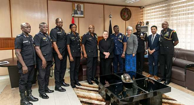 U.S. Department of State Assistant Secretary for the Bureau of International Narcotics and Law Enforcement Affairs Kirsten Madison (middle in black suit) and the U.S. Ambassador to Ghana Stephanie S. Sullivan pictured with Inspector-General of Police James Oppong-Boanuh (left of Assistant Secretary Madison) and Ghana Police Service (GPS) International Relations Directorate Director ACP Baba Saanid Adamu (far right) and members of the GPS on Thursday, January 23, 2020.