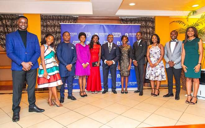 Rhodes National Secretary For West Africa, Ike Chioke (middle) With All Ten 2020 Finalists