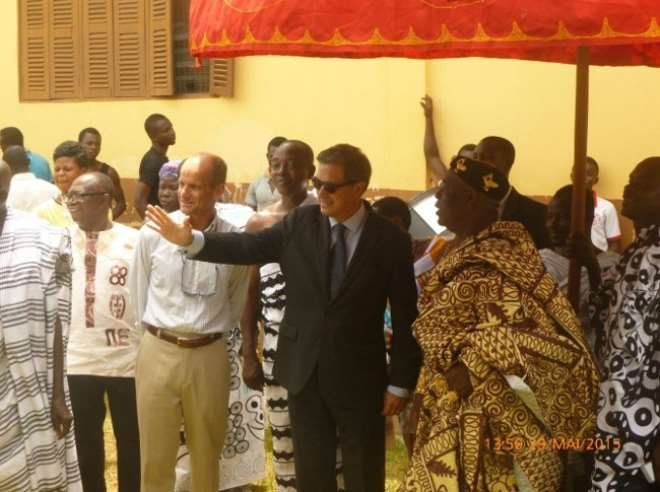 From left to right: Pierre-Yves Kervennal, environment advisor from the Embassy of France to Ghana, H.E Frédéric Clavier, Ambassador of France to Ghana and Nana Boachie Duah French-Ghanaian citizen, local chief  and project manager