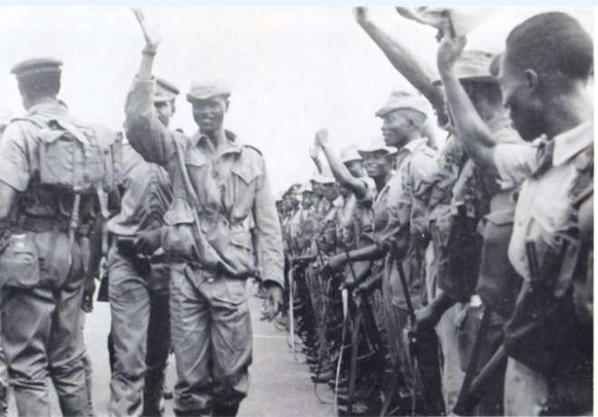 Maj. Afrifa Cheering His Men After The 1966 Coup D'etat
