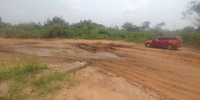 A Badly Damaged Road At Kyekyebo