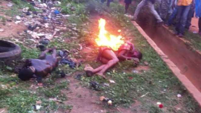 2. TWO ALLEGED ROBBERS LYNCHED AND SET ABLAZED IN KUMASI